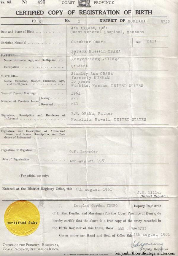 Make your own Kenya birth certificate!   Mock Paper Scissors