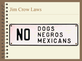 jim crow laws paper The role of jim crow laws in the history of the united states of america united states history home chronological eras chronological eras  on paper, the bus .