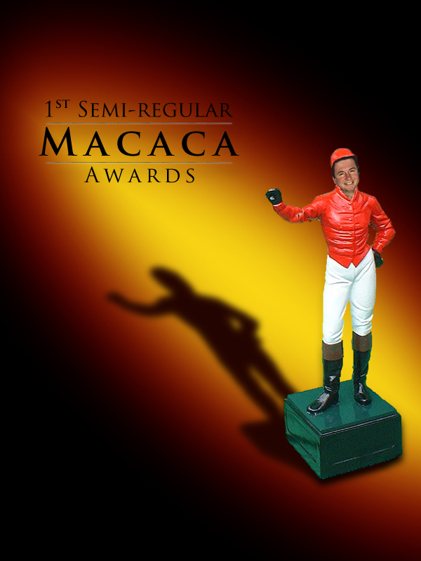 Statuette of George Allen as a lawn Jockey to announce the Macaca Awards