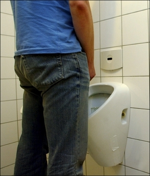 urinal in use
