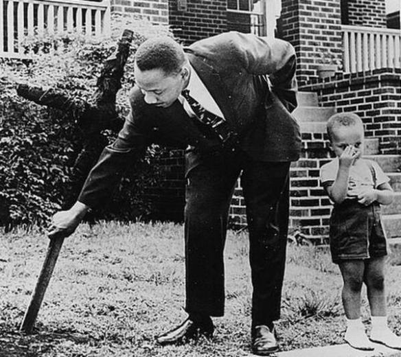Martin Luther King and son find a burned cross on their lawn.